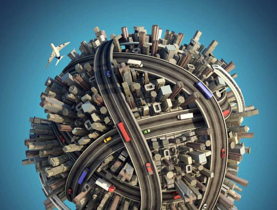 Kula ziemska, miasto, 3D Fot. Shutterstock
