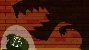 Dinozaur, worek z pieniędzmi.