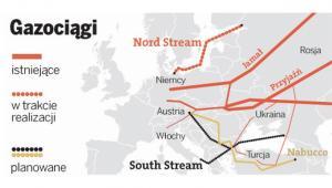 Istniejące gazociągi w Europie oraz planowany South Stream i Nord Stream.