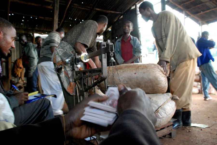 Rolnicy sprzedają kawę w Yirgacheffe w Etiopii.