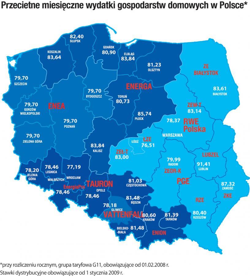 Przeciętne miesięczne wydatki na prąd gospodarstw domowych w Polsce