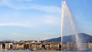 Jet de Genève, najwyższa fontanna w Europie, Genewa, fot. Lammy