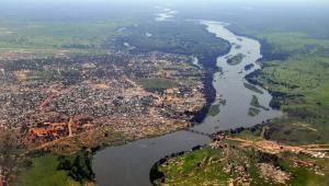Panorama Dżuby, stolicy Sudanu Południowego przez którą przepływa rzeka Nil.