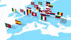 Flagi państw na mapie Europy, fot. Oleksiy Mark