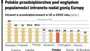 Polskie przedsiębiorstwa pod względem popularności Intranetu nadal gonią Europę