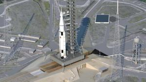 rtystyczna wizualizacja rakiety kosmicznej SLS, źródło NASA