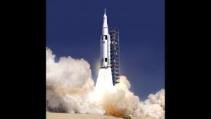 Artystyczna wizualizacja planowanej rakiety kosmicznej SLS, źródło NASA