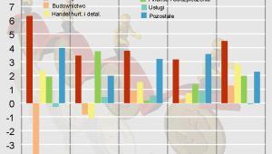 Wzrost wydajności pracy w ujęciu rocznym w latach 2000-2007