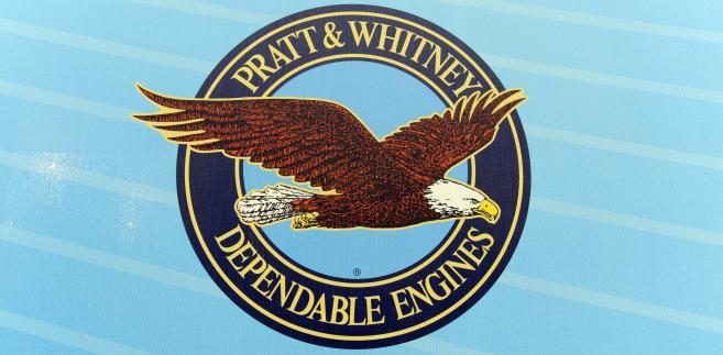 Logo Pratt & Whitney, części koncernu United Technologies. Fot. Fabrice Dimier/Bloomberg