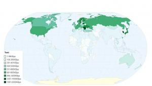 Mapa krajów z najszybszym dostępem do internetu. Źródło: Pando Networks, chartsbin.com.
