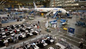 Zakłady Boeing Co. w Everett w stanie Washington, montaż samolotu 787 Dreamliner
