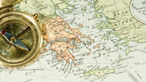 Grecja, mapa, kompas, fot. Chad McDermott