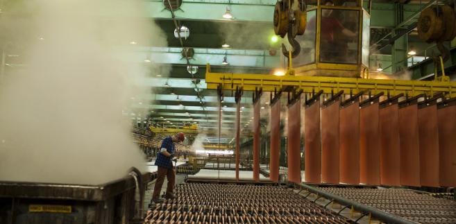 Robotnik wyjmuje z kąpieli elektrolitycznej usze oczyszczonej miedzi, fot. Bartek Sadowski/Bloomberg