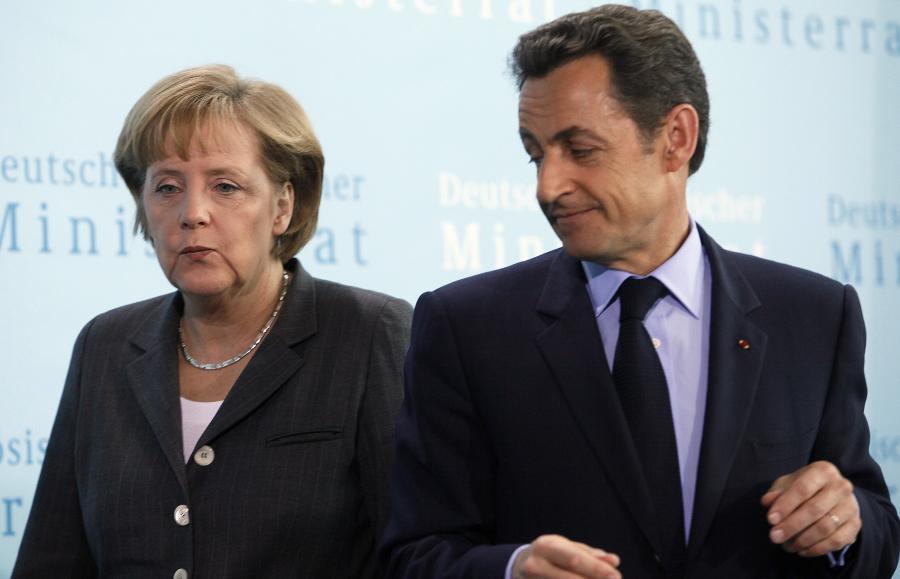 Kanclerz Niemiec Angela Merkel i prezydent Francji Nicolas Sarkozy