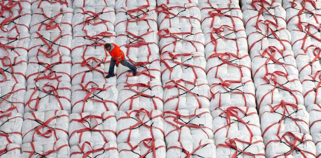 Pracownik z amerykańskiej Kalifornii sprawdza paczki z ryżem przeznaczone na eksport do Japonii