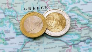 Mapa Grecji i euro Fot. Shutterstock