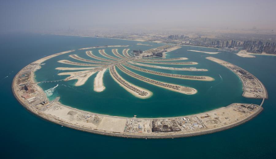 Sztuczna wyspa Palm Jumeirah w Dubaju, Zjednoczone Emiraty Arabskie