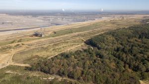 Las przy kopalni odkrywkowej węgla brunatnego w Hambach. Niemcy, 5.10.2018