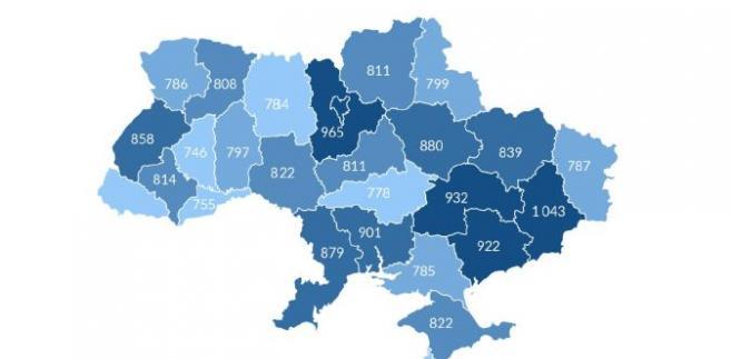 Średnie miesięczne wynagrodzenie w obwodach Ukrainy