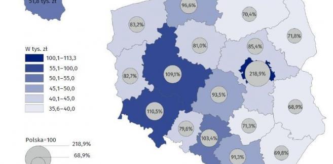 PKB per capita w regionach w 2017 - mapa (GUS)