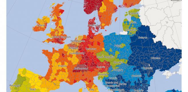 Mapa siły nabywczej w Europie 2018, źródło: GfK