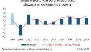 Tempo wzrosty PKB po przyjęciu euro - Słowacja