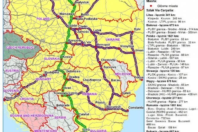 Via Carpatia - mapa - deklaracja łańcucka