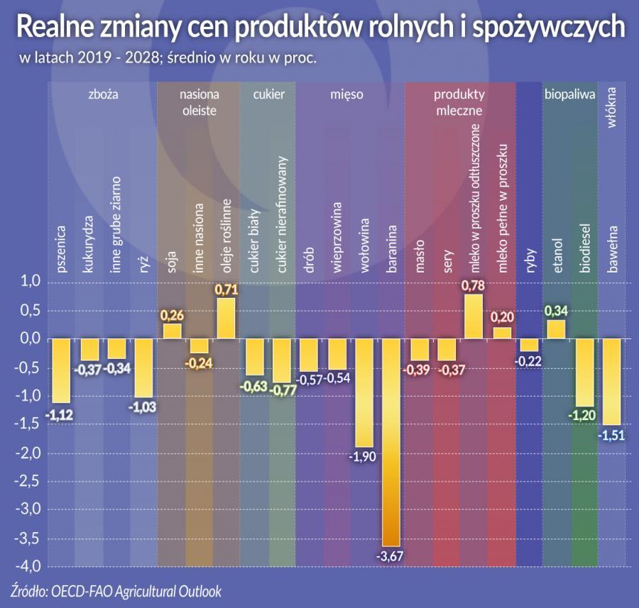 Realne zmiany cen produktów rolnych i spożywczych (graf. Obserwator Finansowy)