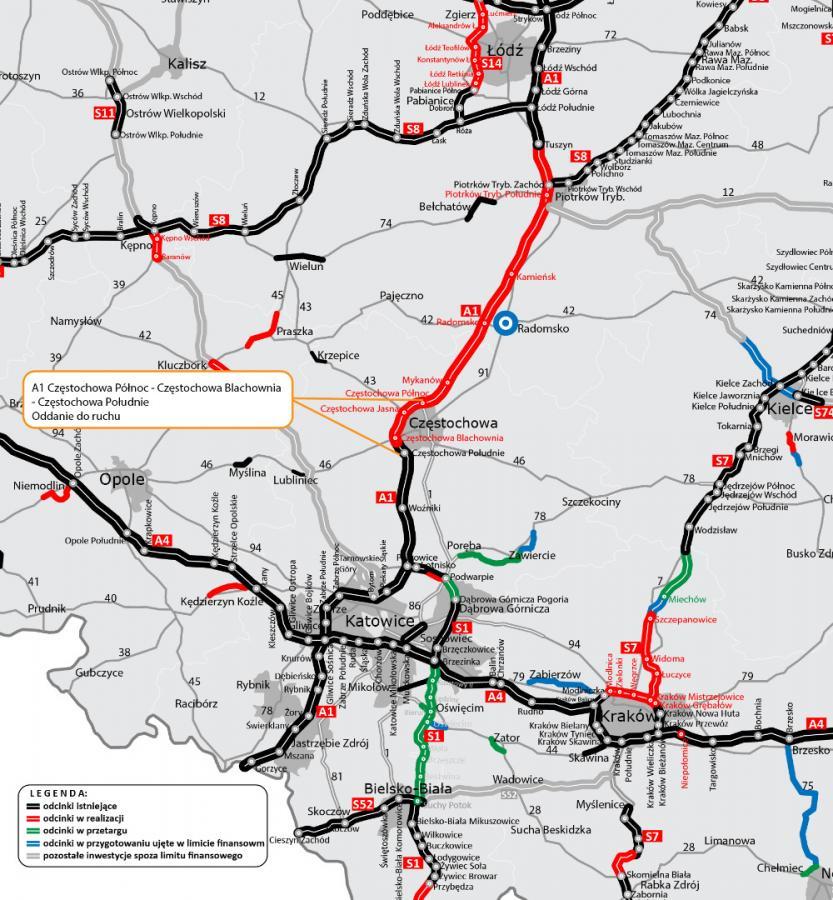 Autostrada A1 Obwodnica Wokol Czestochowy Otwarcie Mapa Zdjecie 3